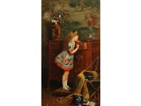 a narrative study showing a young girl climbing on a stool to look into a drawer by charles louis verwee