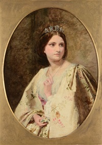 portrait of a young lady wearing a tiara by james hayllar