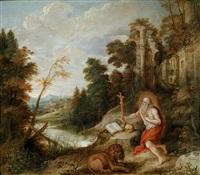 der heilige hieronymus mit dem löwen in einer ruinenlandschaft by frans francken iii