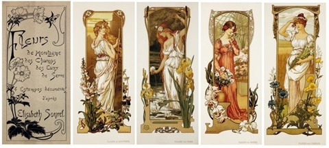 Art Nouveau female artists: art nouveau work by elisabeth sonrel showing four women adorned with flowers