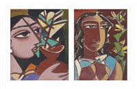 woman with vase; virahini (2 works) by george keyt