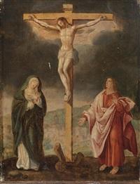 christus am kreuz mit assistenzfiguren by marcellus coffermans