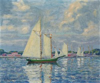 morning - greenport harbor by whitney myron hubbard