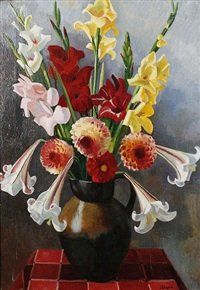 still life with vase of mixed flowers by adrian paul allinson