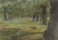 an afternoon stroll through the park by john william inchbold