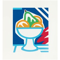 still life with pear and oranges by tom wesselmann