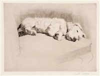daydreaming; sealyham terrier; landscape (3 works) by cecil charles windsor aldin