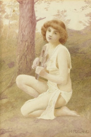 a nymph playing a lyre in a forest by henry ryland
