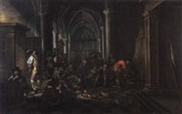 a guardroom company in a church interior by pieter jansz van asch and bartholomeus van bassen