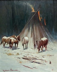 night horses & teepee by robert wagoner