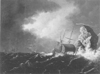 vessels in storm by william lestrange