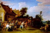 feiernde bauern vor einem wirtshaus by ferdinand van apshoven