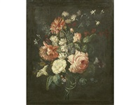 convolvulus, carnations, roses, sweet peas and poppies in a vase by german school (18)