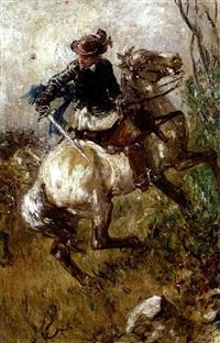 schlachtengemälde, in nahansicht reiter mit gezücktem schwert by wilhelm karl räuber