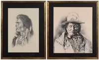 native american portrait (+ another; 2 works) by bill hampton