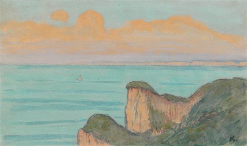 le val saint nicolas vue sur la falaise de dieppe by jean francis auburtin