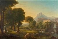 paysage avec des danseuses près d'un temple by jean victor bertin