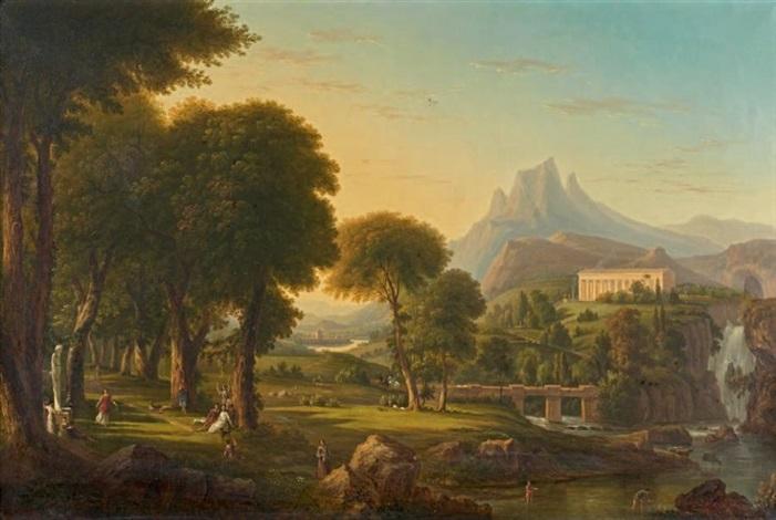 paysage avec des danseuses près dun temple by jean victor bertin