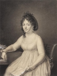 a lady seated by a keyboard, holding a letter by jean baptiste jacques augustin
