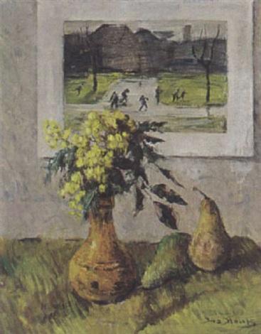 stilleven met bloemen twee peren en een aquarel by ina hooft
