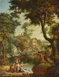 pastoral landscape with waterfall and village in the background by giovanni battista innocenzo colombo