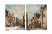 figures in a snow covered street (+ a dutch town in summer; pair) by pieter gerardus vertin