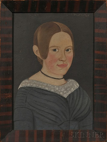 portrait of a blond haired girl wearing in a blue dress by american school prior hamblen 19