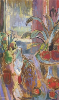 summer flowers, fruit and a jar on a table by a window by john livesey