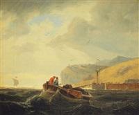 zwei männer in einem boot vor der küste by andreas achenbach