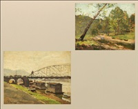 monogahela river wharf, pittsburgh, pa (+ lowry's run near pgh, pa; 2 works) by ferdinand kaufmann