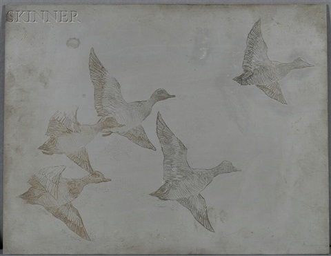 zinc plate for flying widgeon two mallards 2 works by frank weston benson