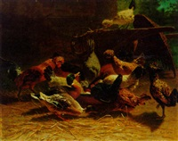 chickens and ducks in a farmyard by carl rohde