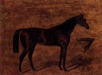 a dark brown horse before a manger by anton zampis