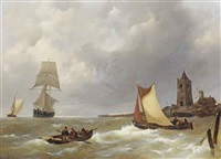 sailing vessels and fishing boats off the shore by johannes christiaan schotel
