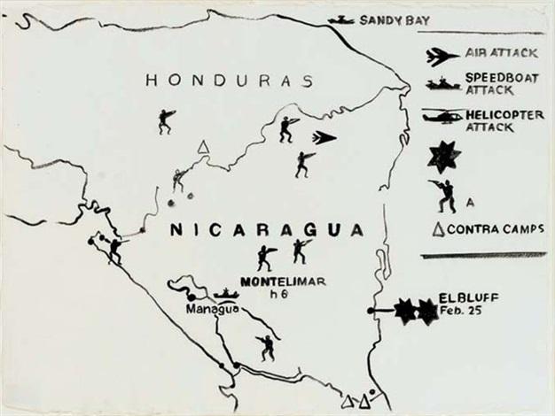 Map Nicaragua And Honduras By Andy Warhol On Artnet - Nicaragua map honduras