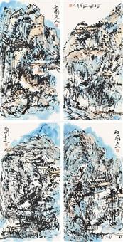 山水 立轴四屏 设色纸本 (in 4 parts) by ma xiyuan