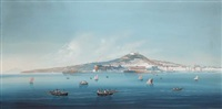 a view of naples from the sea (+ seascape; pair) by giuseppe gustavo scoppa