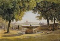 view of rome from the fountain of the villa medici by salomon corrodi