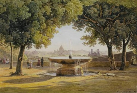 view of rome from the fountain of the villa medici by salomon corrodi