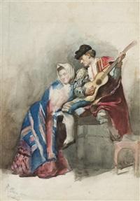 un guitariste espagnol accompagné d'une femme assise à ses côtés by jose arpa y perea