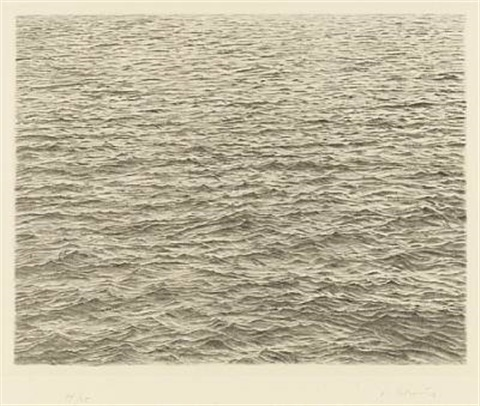 drypoint ocean surface by vija celmins