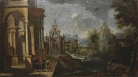 architectural capricci with scenes from the life of christ (2 works) by alessandro salucci
