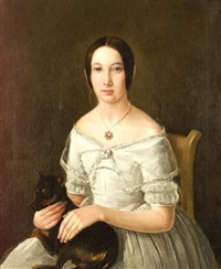 portrait of an elegant young lady with her pet dog by manuel de maria campos