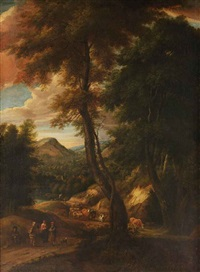 a hilside forest landscape with travellers and cattle on a path by cornelis huysmans