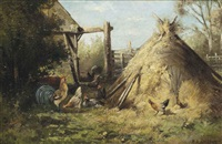 the call of the rooster by marinus adrianus koekkoek the younger