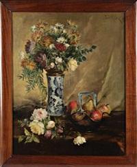 nature morte aux fleurs et aux fruits by jules félix ragot