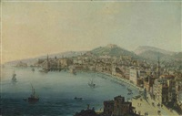 a view of the bay of naples, with figures on the riviera di chiaia by pietro antoniani