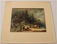 holzarbeit im winterwald by franz reinhold