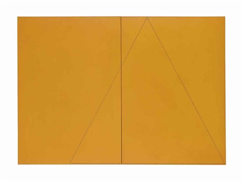 a triangle within two rectangles orange diptych by robert mangold