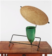 control lamp (w/attached iron bookshelf) by mitchell bobrick